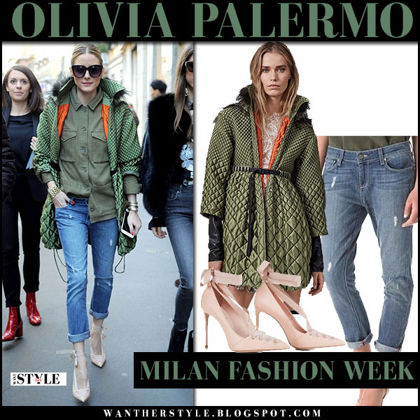 Olivia Palermo in green quilted parka ermanno scervino, ripped jeans and pale pink lace up pumps le silla what she wore milan fashion week
