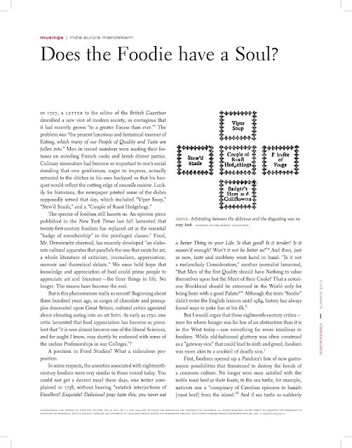 Does the Foodie Have a Soul?
