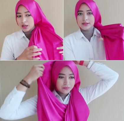 Cara 2 memakai jilbab menutup dada dengan scarf satin