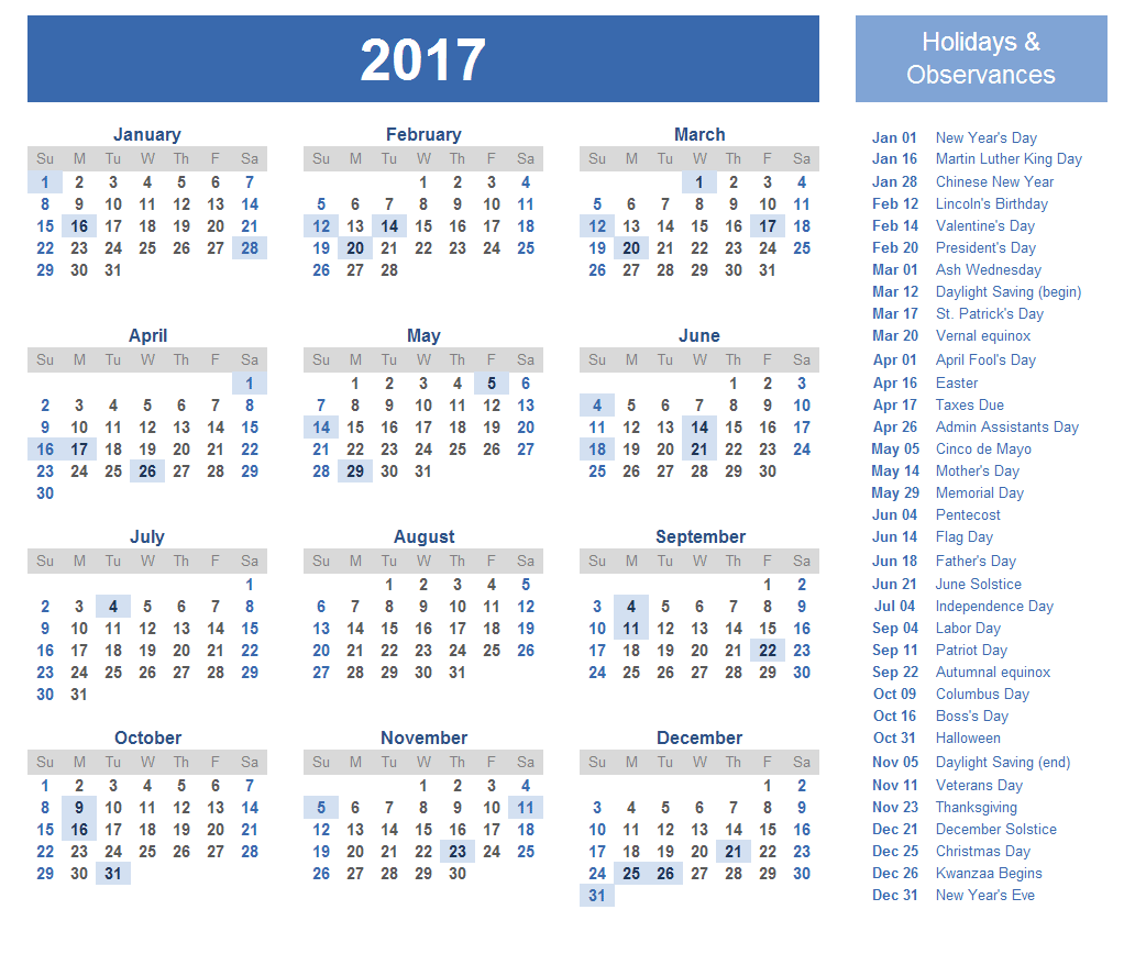 2017 Calendar UK Holidays Templates