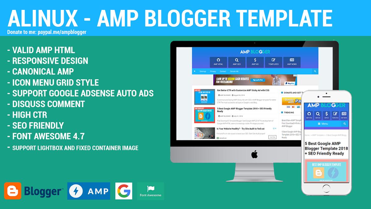 Template Premium Alinux AMP Blogger Keren Dan Mewah