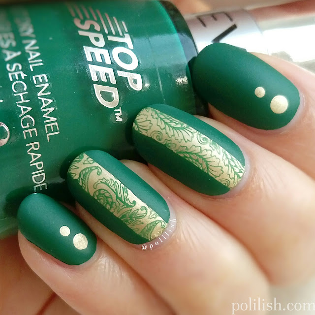 Green and gold reverse stamping with UberChic 1-02, by polilish