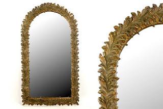 Espejo Tallado Ramas Antique Oro