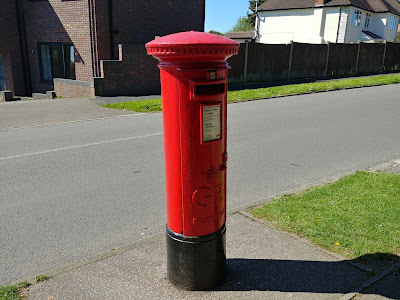 Photograph of Pillar box GR at the junction of Moffats Lane and Mymms Drive, Brookmans Park Image from the North Mymms History Project released under Creative Commons
