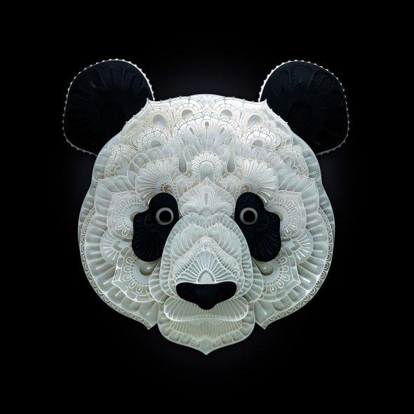 Patrick Cabral behance arte animais papel cortado espécies ameaçadas extinção wwf Panda gigante