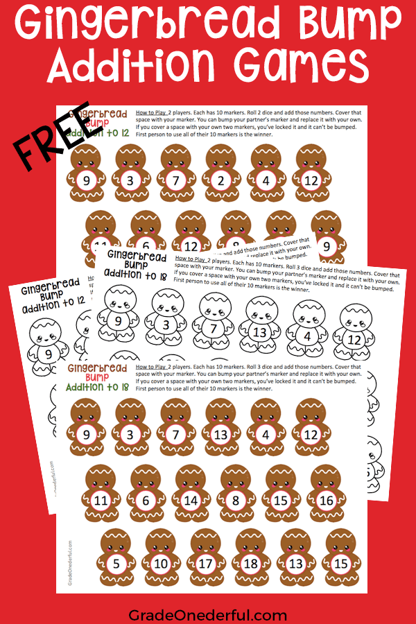 Free Math Games. You're going to love these cute Christmas math games: Gingerbread Bump. There are two versions (addition to 12 and to 18). Plus, you get both the colored and black and white versions! #gradeonederful #christmas #christmasmath #gingerbread #mathgamesforkids #additiongames