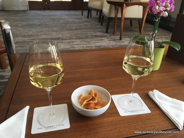 afternoon wine and housemade potato chips at The Clement Hotel in Palo Alto, California