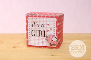 SRM Stickers Blog - Mini Baby Box by Lorena - #clearbox #giftbox #baby #janesdoodles #babyjungle #fancysentiments