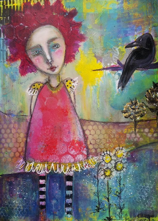 Whoopidooings: Carmen Wing - Mixed Media Girl & Crow
