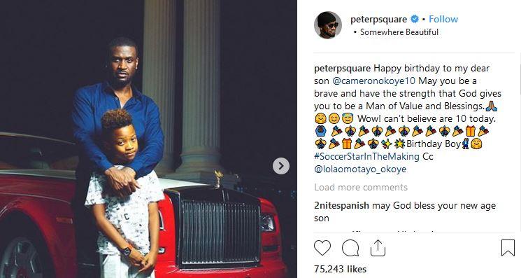 Peter Okoye and wife celebrate son as he clocks 10