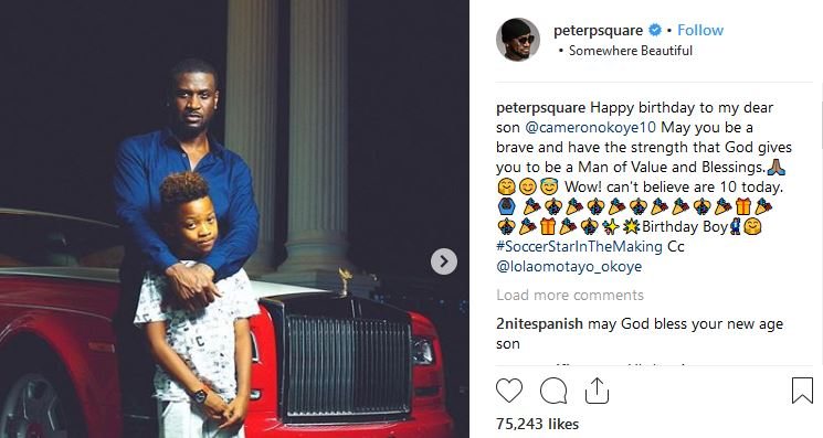 Peter Okoye and wife celebrate their son as he clocks 10 today