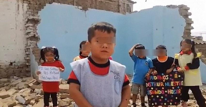 Niño pide al Presidente Martín Vizcarra la reconstrucción de su colegio derrumbado por lluvias en Chiclayo [VIDEO]