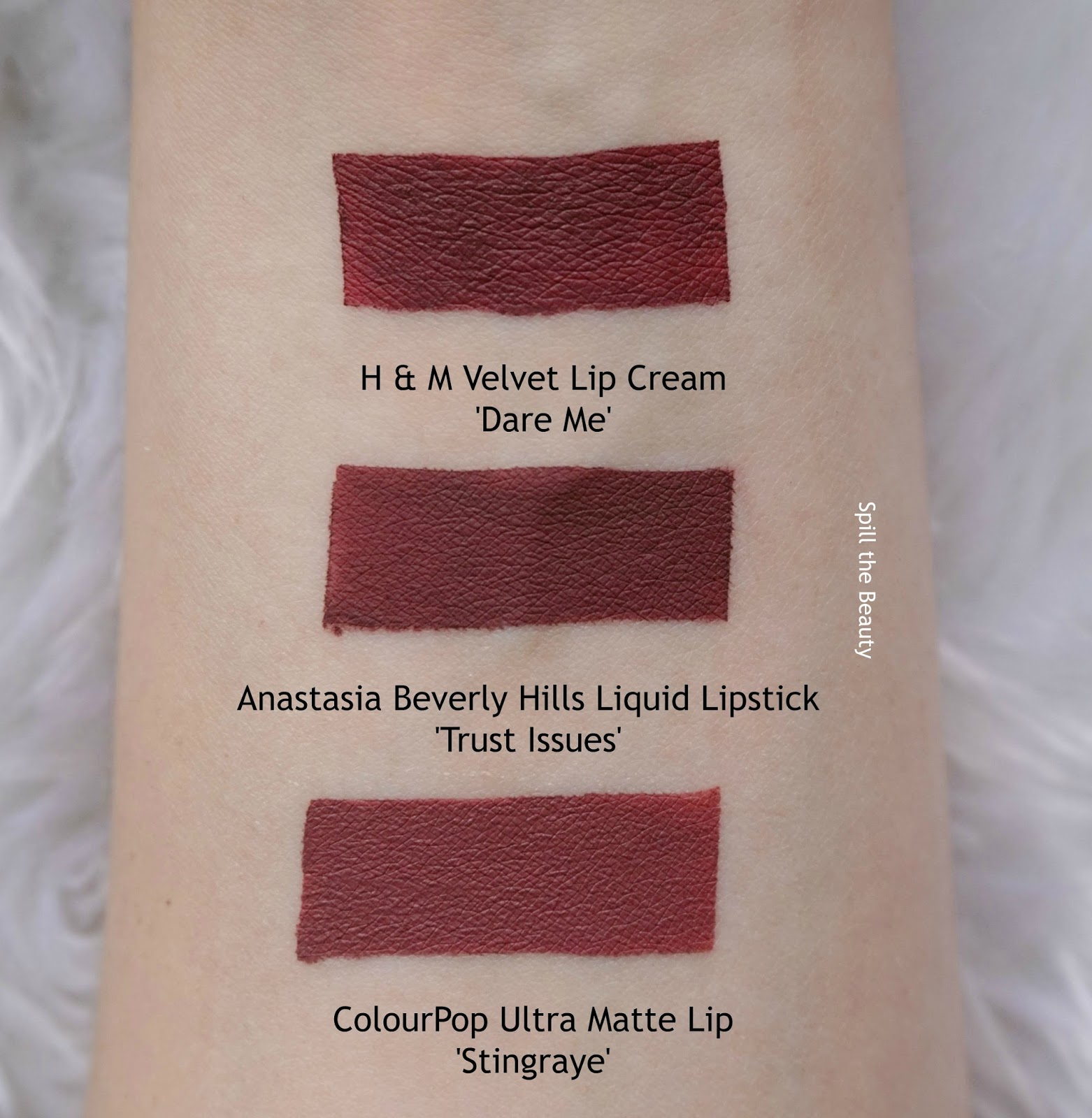 lip swatch comparison dupe anastasia beverly hills liquid lipstick trust issues colourpop h & m
