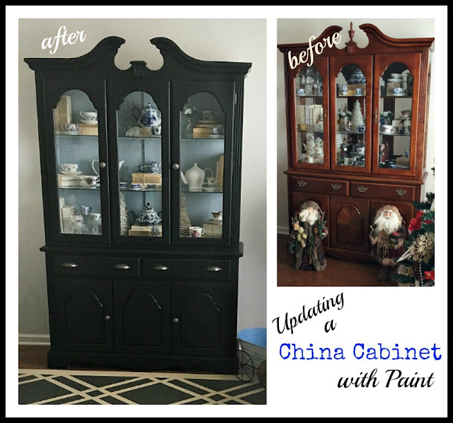 Vintage Paint and more... making a vintage cabinet into a beautiful trendy farmhouse piece by painting it with black chalkboard paint
