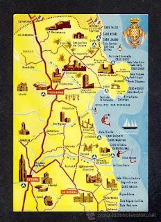 Mapa de la Costa Brava.