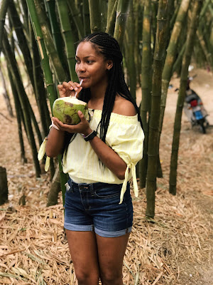 girl drinking from a coconut at holland bamboo, bamboo avenue, Chevy Takes The Mic Jamaican Travel Blog Series Adventures in St. Elizabeth Jamaica, things to do in Jamaica