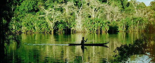 Rio en la Amazonia e indigena