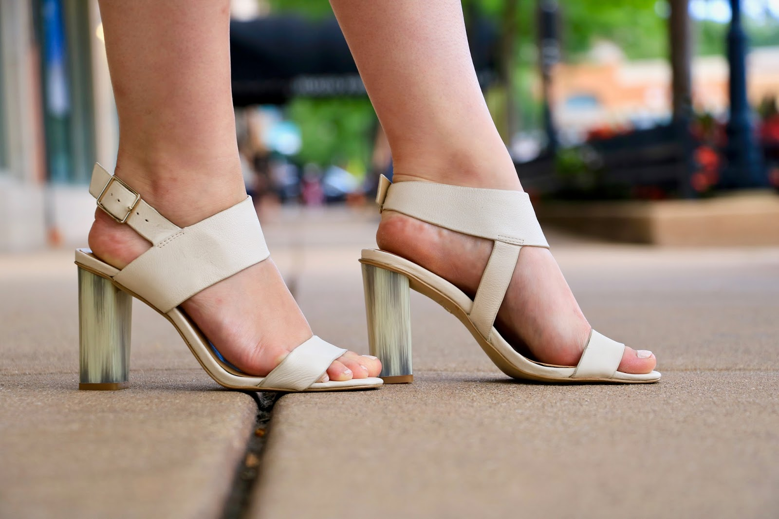 Fashion blogger Kathleen Harper of Kat's Fashion Fix wearing white strappy heels