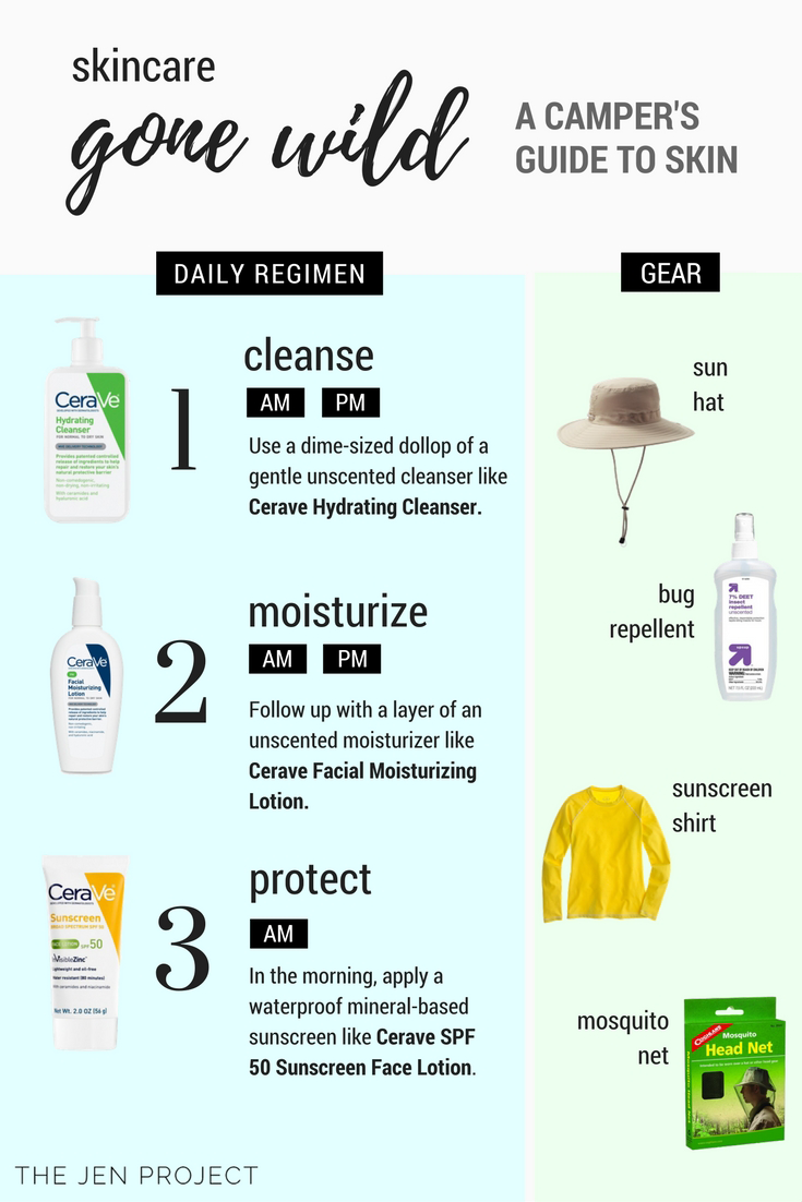 Check out these quick and dirty tips on how to keep your skin in tip-top shape when you're contending with nature. From The Jen Project, a skincare blog for busy people. Visit thejenproject.com.