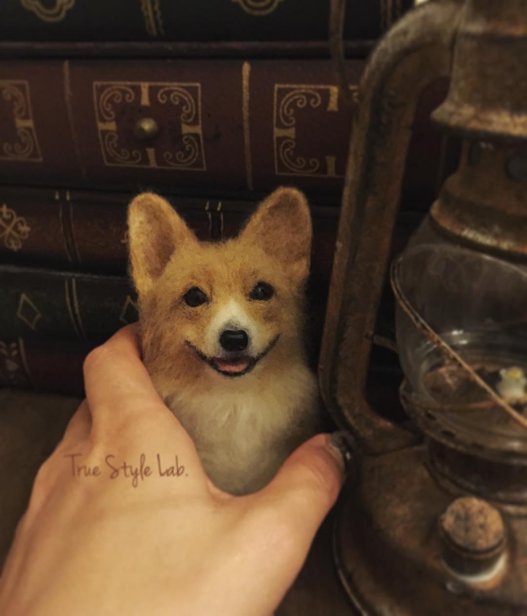08-Corgi-Dog-Terumi-Ohta-Giving-Life-to-Woollen-Animal-Sculptures-www-designstack-co