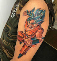 tatuaje brazo color negro de dragon ball