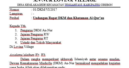 Contoh Surat Undangan Rapat Dkm Bertemuco