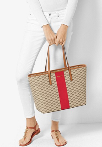 27167e535859 MICHAEL Michael Kors Signature Stripe Emry Large Tote Retail Price:  USD348/USD368 (Natural/Gold) Price: RM1970/RM2070 (Natural/Gold) Colour:  Natural/Bright ...