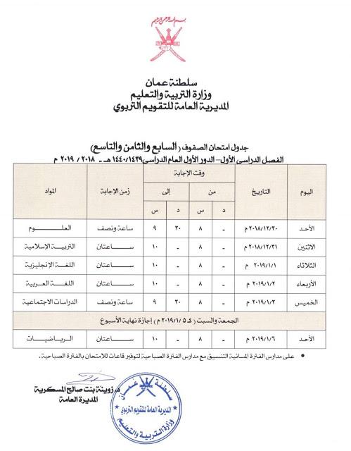 جدول امتحان الصفوف ( السابع -الثامن- التاسع ) الفصل الاول الدور الاول 2018-2019 سلطنة عمان