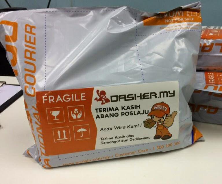 Dasher thanks Poslaju note