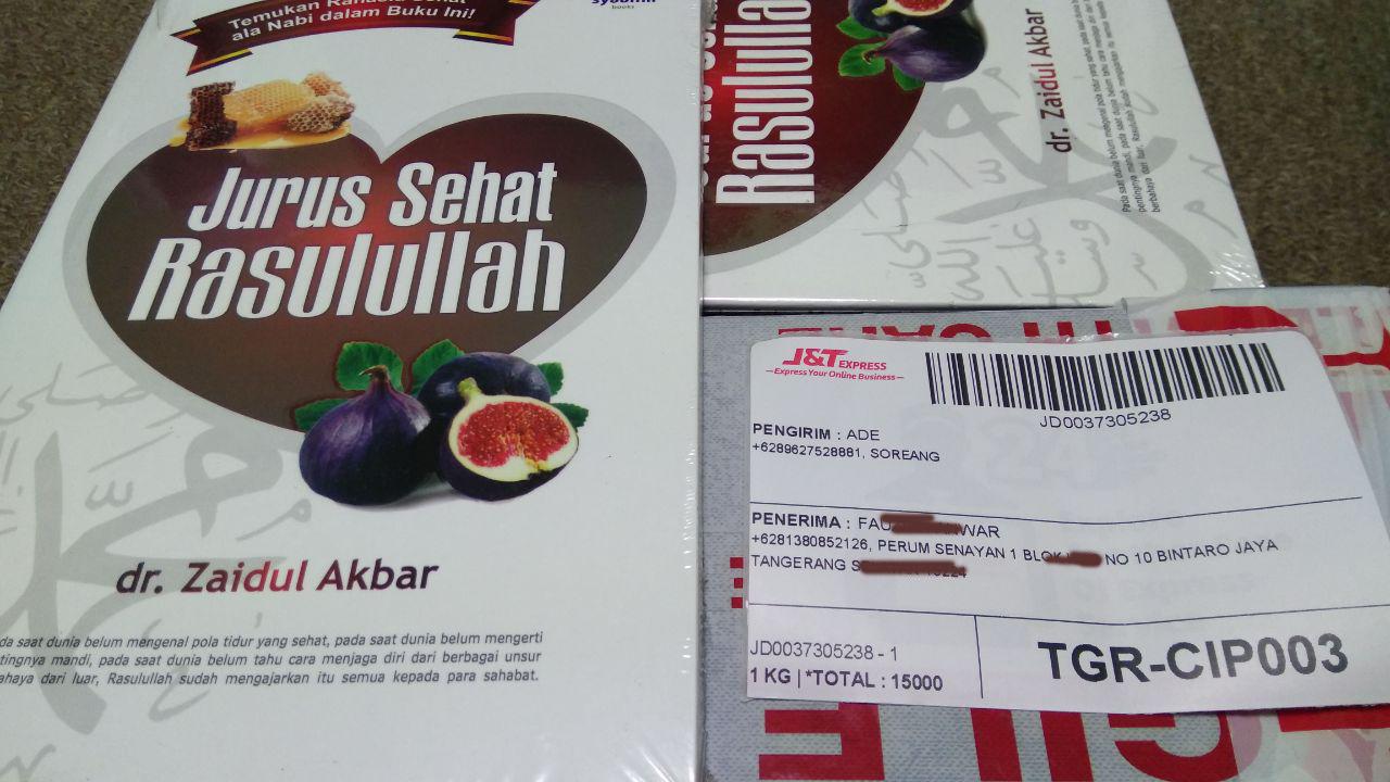 alamat pengiriman buku Jurus Sehat Rasulullah antara lain; Bandung, Subang, Jakarta dan Tangerang Selatan