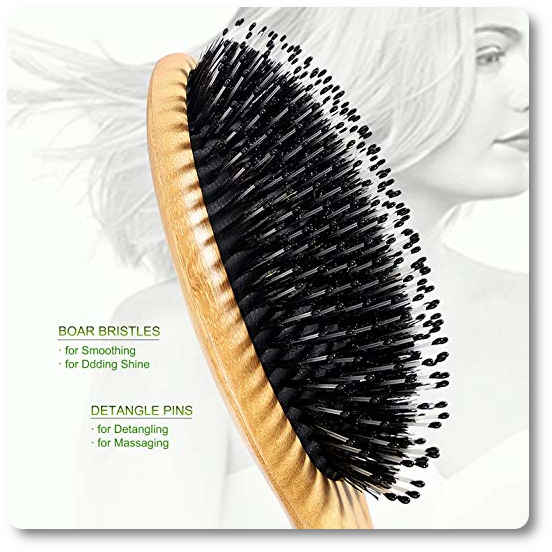 Bestool Boar Bristle Hair Brush With Nylon Pins Bamboo Paddle Detangler