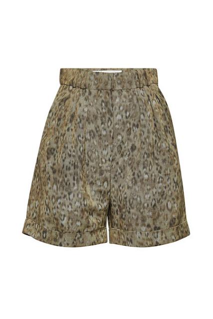 Iro Gemusterte High Waist Shorts mit Leinen