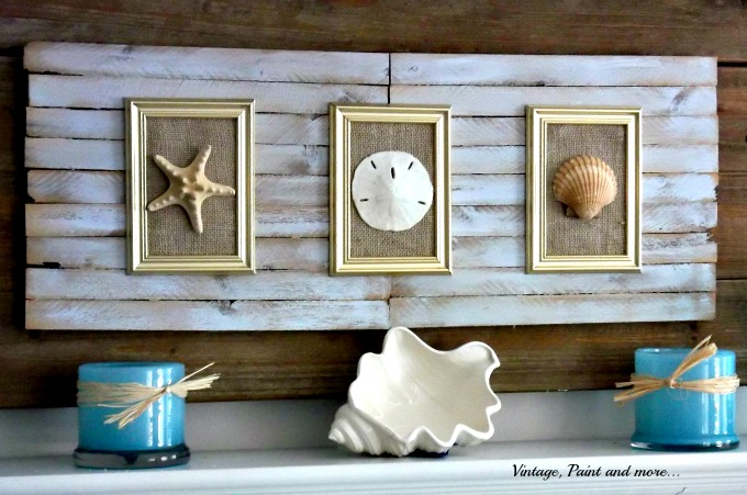 Vintage, Paint and more... beach decor, seashell decor, rustic beach decor