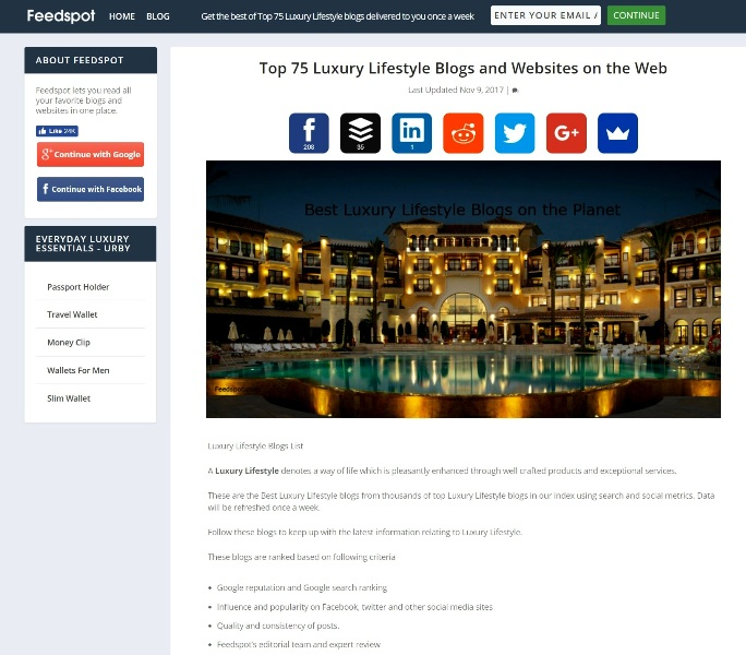 feedspot top 75 luxury lifestyle blogs