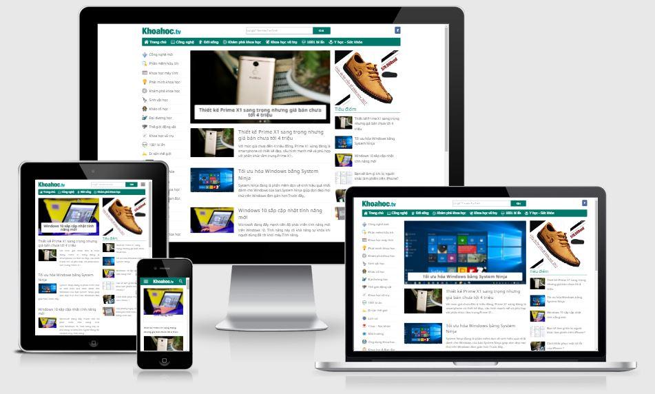 Chia sẻ template blogspot giống trang thông tin Khoahoc.tv