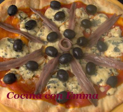 Pizza de roquefort con sabor a mar