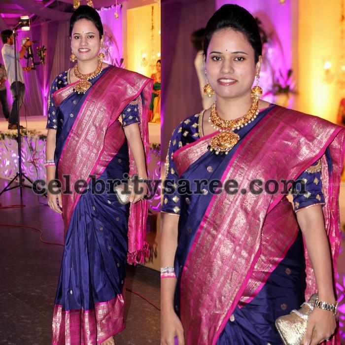 79c4b64022b12 Grey Big Border Silk Saree - Saree Blouse Patterns