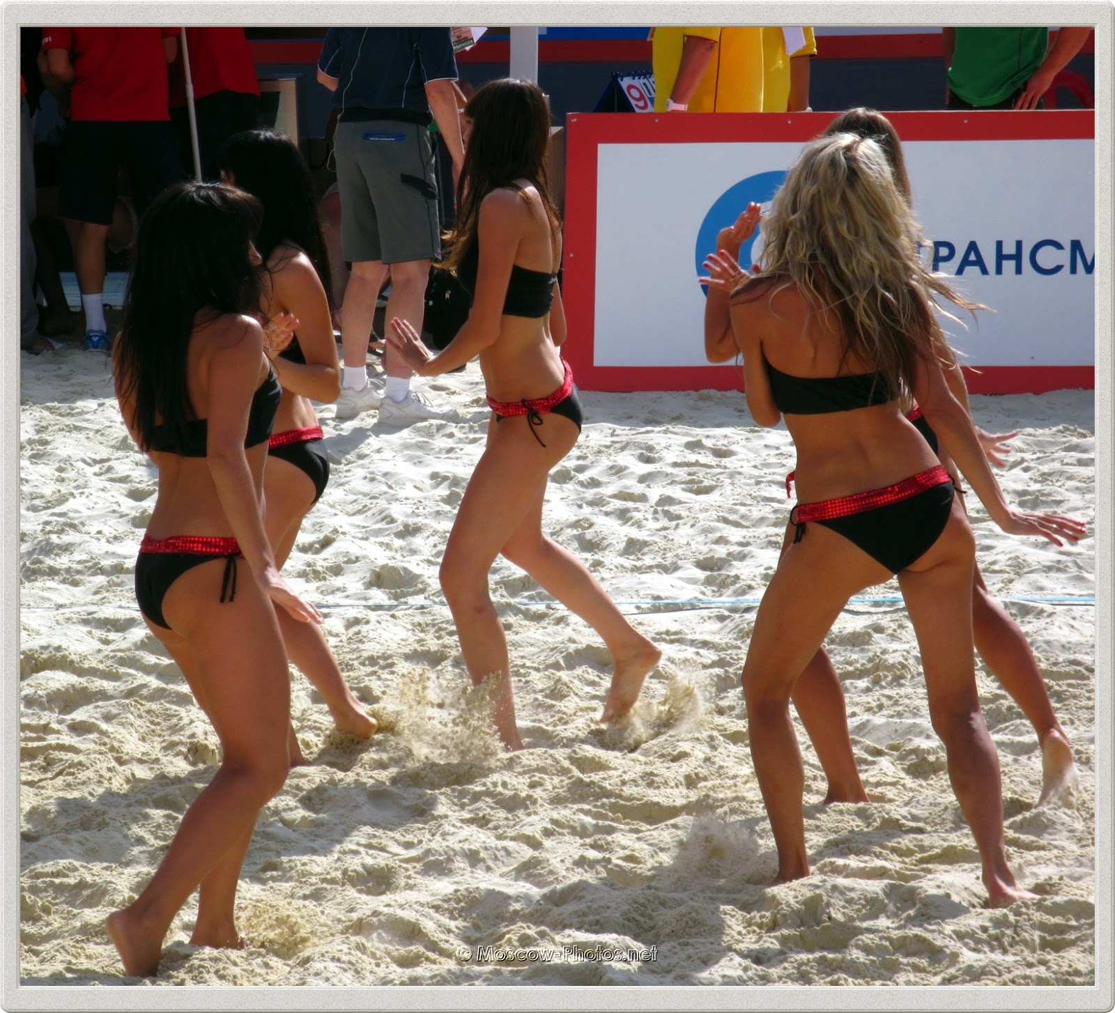 Beach Volleyball Black Swimsuits Cheerleaders