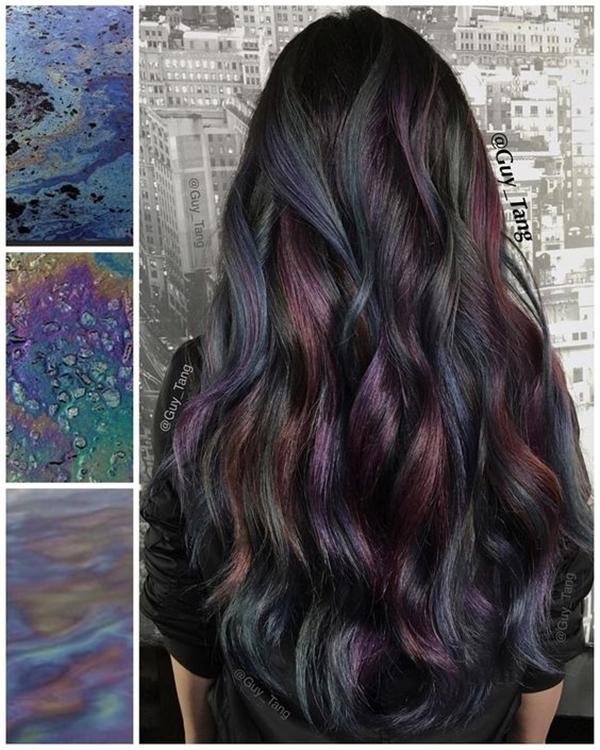 Cabelo colorido oil slick hair