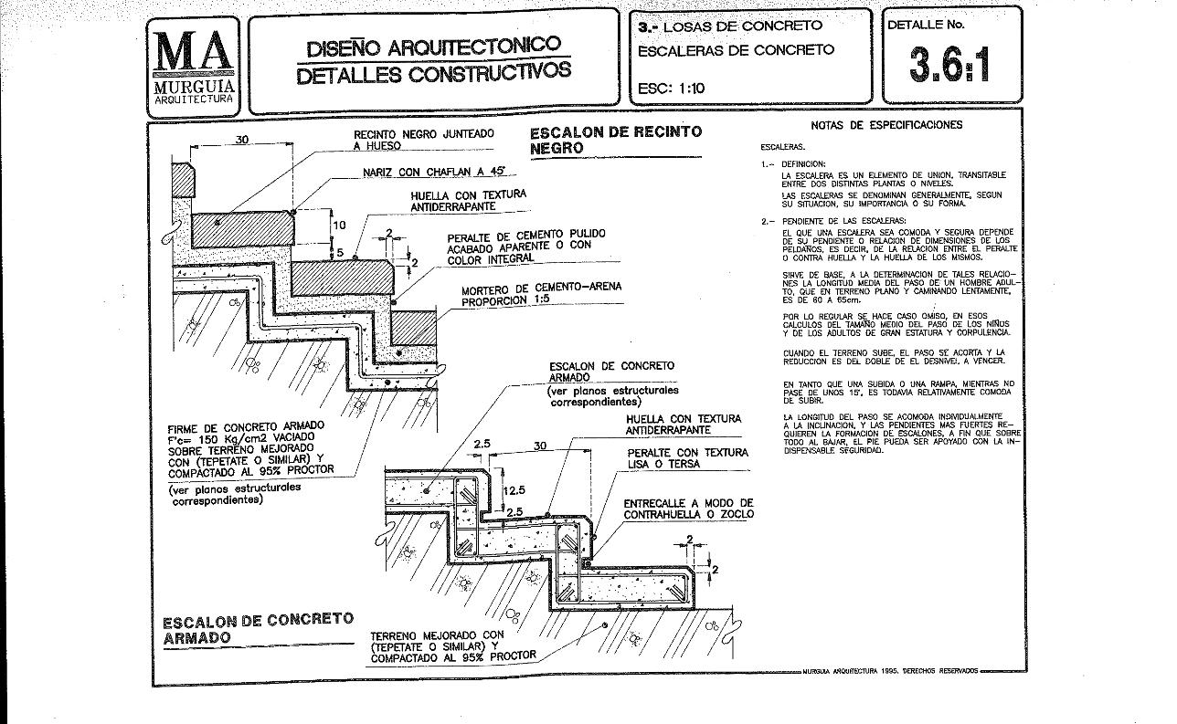Detalle escalera de concreto detalle de plano de for Planos de escaleras de concreto armado
