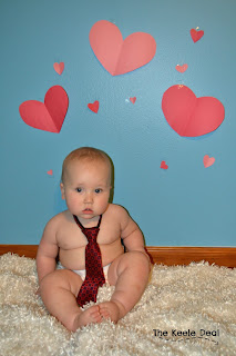 10 Month Old Boy Valentines Day Photos with a cheap and easy background