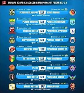 Jadwal Torabica Soccer Championship Pekan 13