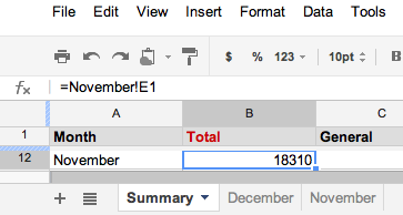 Google Docs : How to reference cell value in another sheet