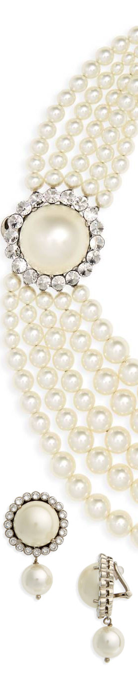 Miu MiuMultistrand Imitation Pearl Necklace and Double Imitation Pearl & Crystal Drop Earrings