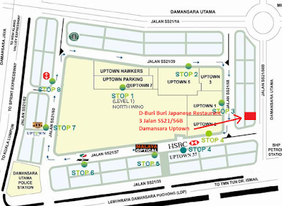 Location map D-Buri Buri Japanese Restaurant
