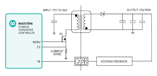 isolated 24v to 12v 10w flayback power supply system