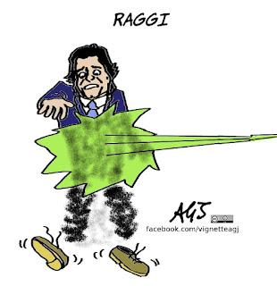 Marchini, Forza Italia, Raggi, elezioni roma, satira, vignetta
