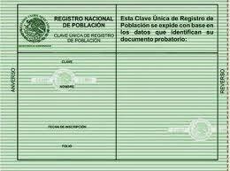 Documento Verde con datos de Anterior Formato de CURP en Mexico