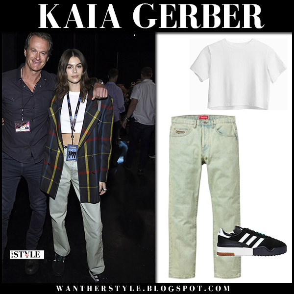 Kaia Gerber in white crop top and jeans supreme model style june 11