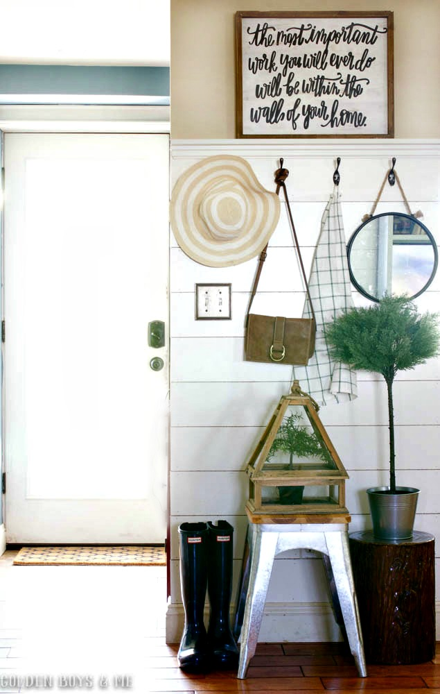 Spring entryway with DIY plank wall and shelf